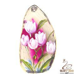 Elegant Pendant Hand Painted Flower Natural Gemstone With Gold Edge ZL802100 #ZL #Pendant