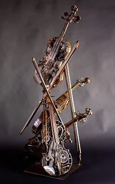 Music violin metal art by Deveren B. Farley