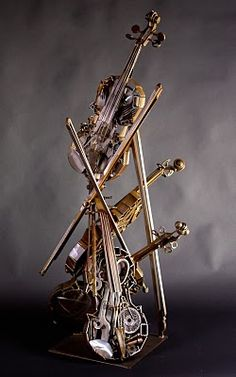 metal art violins