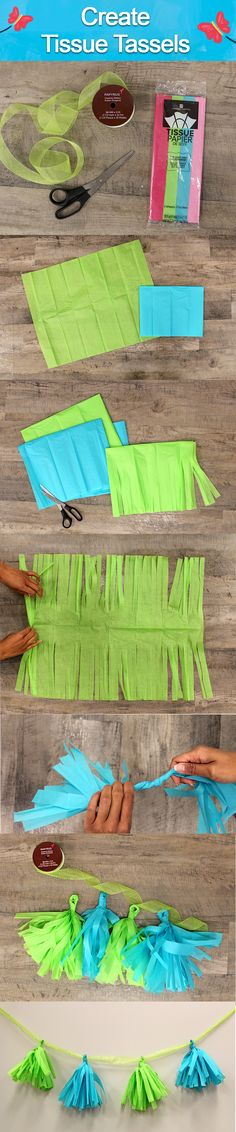 Create Tissue Tassels! Step 1: Fold a sheet of tissue paper into a square; Step…