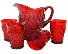 Elizabethan Pattern Glass in Ruby Red: Set of four tumblers and pitcher set. Vintage Dishes, Vintage Glassware, Vintage Kitchen, Red Cottage, Cranberry Glass, Glass Pitchers, Red Kitchen, Antique Glass, Shades Of Red