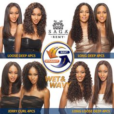 Saga Indian Remy Human Hair Weave Wet&Wavy Whole in One 4Pcs + Free Closure