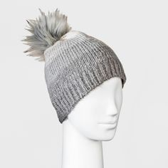 f6fa5bb3288 Stay cozy and cute all day long when you put on the Ombre Faux-Fur Pom  Beanie from Universal Thread. With gradual gradation from light gray on the  top to ...