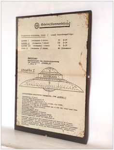 Aged reproduction German UFO plans in clip frame.