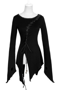 T-377 PUNK RAVE assymetric tunic, witchcraft blouse, ripped