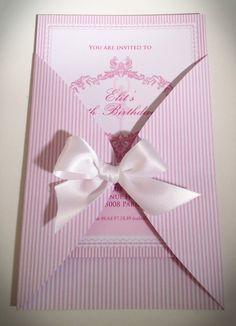 Pink Stripes Ballerina Party Invitation. #babyshower #birthday #invites