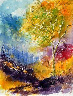 Watercolor 213042 painting - Pol Ledent Watercolor 213042 Art Print