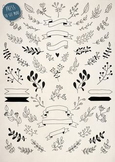 Hand Drawn Floral Elements Pack by bum katrin on Creative Market Hand Drawn Floral Elements Pack by bum katrin on Creative Market Bullet Journal Notebook, Bullet Journal Ideas Pages, Bullet Journal Inspiration, Doodle Drawings, Easy Drawings, Doodle Art, Hand Logo, Sketch Notes, Hand Sketch