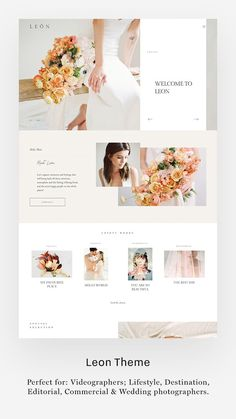 Leon - Flothemes - Leon Theme, Light Style Kit, website design for videographers & photographers. Design Websites, Web Design Tips, Wedding Website Design, Simple Website Design, Website Ideas, Layout Design, Website Design Layout, Website Design Inspiration, Design Typography