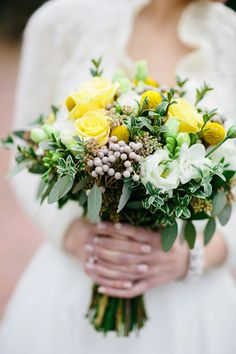 stunning yellow, white and green bouquet by A Fantasy in Flowers, photo by Brooke Images | junebugweddings.com