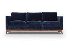 Chantelle - Velvet Cotton Navy by Jovili.  Style/Type - Mid-century modern velvet sofa / couch / 3 seat sofa