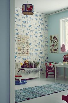 blue vintage kids room, horse wallpaper