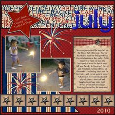 Independence Day / 4th of July scrapbook page idea