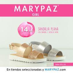 """MARYPAZ GIRL <3 <3   Descubre la colección """"mini"""" de MARYPAZ pensada para las más pequeñas de la casa :)   Disponibles en tiendas seleccionadas y en nuestra NUEVA WEB marypaz.com  ¡ SANDALIA PLANA con bandas y hebilla NIÑA 14,99 € !  #marypazgirl #girl #mustmini #minimarypaz #shoesobssession   Descubre toda la Colección MARYPAZ GIRL aquí ► http://www.marypaz.com/girl.html"""