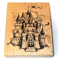 PSX K-1224 Fairy tale castle rubber stamp wood mounted drawbridge medieval times faire scenic stamping card making invitations journaling by NoodlesNotions on Etsy