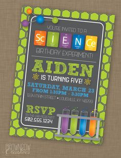 PRINTABLE Science Birthday Party Invitation by BrownCowCreatives