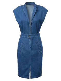 Blue, Lapel, Open Belly, Split, Denim Dress, Bodycon Dress