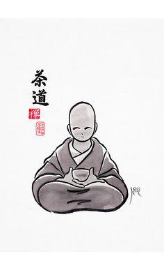 Sado 茶道, sumi-e, by:7e55e  #sumie #sado #tea
