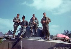 US Army M4 Sherman tank crew posing for a photo, with a bit of clowning around