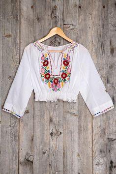 Vintage Bonita Embroidered Cropped Top