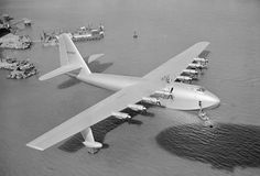 Spruce Goose flying boat, 1947. The largest ever wood aircraft. Now residing in a museum in Oregon.