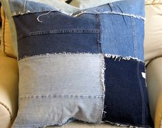 DENIM Super Large Pillow Cover in  Repurpose Bluejeans by yiayias, $95.00