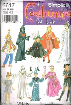 kids pirate clown witch wizard halloween costume simplicity 3617 sewing pattern child size 7 8 10 12 14