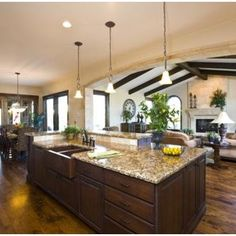 Open Plan + Kitchen + Dining Room + Family Room + Rustic + Wood + Beams Design, Pictures, Remodel, Decor and Ideas - page 5