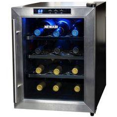 Newair 12-Bottle Stainless Steel Wine Chiller Aw-121E