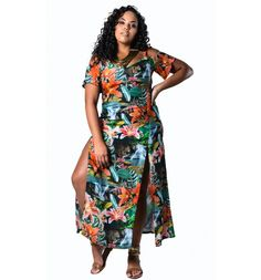 Vestido Plus Size Longo com Fendas Lenner Plus Size  #modaplussize #roupasplussize #roupasfemininas #modafeminina #plussize #beline