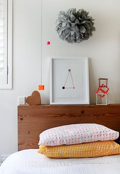 pom pom + dotted pillow cases