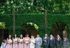 Bridesmaids and groomsmen each a shade darker than the bride and groom | Aaron Hoskins Photography | villasiena.cc