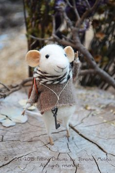 Little Mouse - Autumn-Winter Seasonal Ornament- Felting Dreams - READY TO SHIP