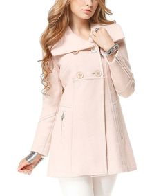 Take a look at the Pink Double-Breasted Flare Peacoat on #zulily today!