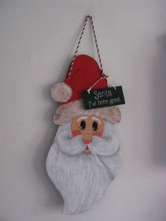 Santa face wall hanging Christmas handpainted by loisling on Etsy, $20.00
