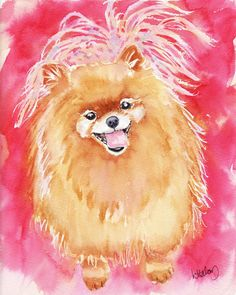 Pink Pomeranian A High Quality PRINT of my Original by LindaHalom