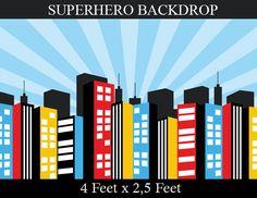 Superhéroe fondo fiesta de cumpleaños del Super por EniPixels