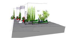 Dibujo de la vista desde la zona de 01 del diseño de jardín para terraza en atico #paisajismo #diseño #jardines