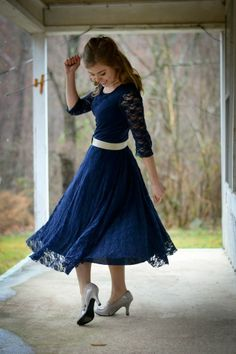 Navy Lace Dress. I love this girls blogs. Theyre full of fabulous tips on how to be fashionable and modest.