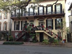 """Featured as one of Savannah """"tiny"""" houses and painted in the red color often used on 18th Century wood homes in Savannah, 536 East State Street was built for John Dorsett in 1845. Description from pinterest.com. I searched for this on bing.com/images"""