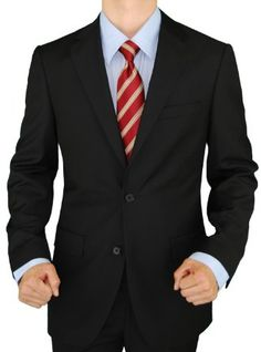 B00DP7PZ6Y   Presidential Giorgio Napoli 2 Button Mens Suit Modern Business Fit Pure Black ---  See more at http://www.clothing-brands.commissionblast.com