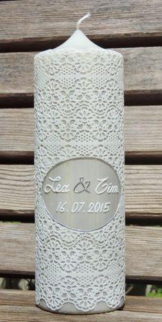 """Hochzeitskerze """"Spitze-O"""" von CERA-Kerzen auf DaWanda.com"""