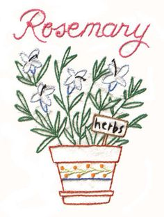 Aunt Martha's Superb Herbs - Iron On Transfers. Superb Herbs Embroidery Transfer Pattern. Stitch these herbs onto tea towels, grocery bags, produce bags, and ap