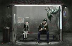beautiful eerie drawings | ... bus stop :: girl :: creepy :: david-sladek :: art (beautiful pictures