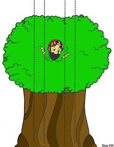 Olha aqui mais alguns visuais pintadinhos pra facilitar!  E este do Zaqueu na árvore por hora aparecendo entre   as folhas e por hora esc...