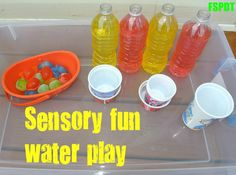 """Sensory water - coloured water, plastic ice cubes & cups/yoghurt pots ("""",)"""
