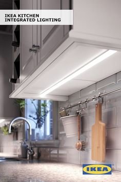 20 Unique Kitchen Lighting Ideas for Your Wonderful Kitchen Late-night snacking just got easier with integrated kitchen lighting! The IKEA URSHULT lamp provides a small, focused beam of light, so you can spend time. Home Renovation, Home Remodeling, Kitchen Remodeling, Cocina Diy, Above Cabinets, Dark Cabinets, Kitchen Redo, Kitchen Ideas, 1970s Kitchen