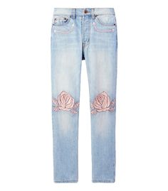 Light wash blue jean featuring contrast pink rose embroidery detail at knee-cap and front pockets. ShopBazaar, shop designer clothing, shoes and accessories selected exclusively by the editors at Harper's Bazaar.