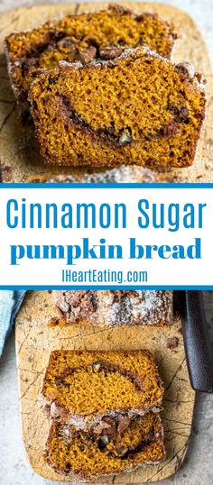 Cinnamon Sugar Pumpkin Bread recipe makes two loaves of moist pumpkin spice bread with a cinnamon sugar swirl throughout.