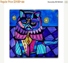 50% Off Discount Code ACORN50 - Cat Art Tile Ceramic Coaster Print of painting by Heather Galler Gift